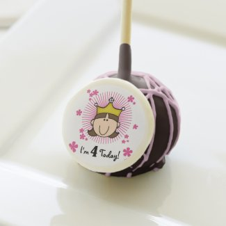 Brunette Princess 4th Birthday Cake Pops