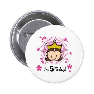Brunette Princess 5th Birthday Button