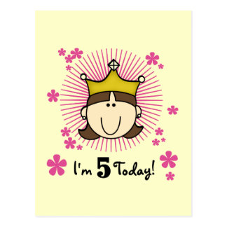 Brunette Princess 5th Birthday Tshirts and Gifts Postcard