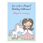 "Brunette Princess and Unicorn Birthday Invitation 5"" X 7"" Invitation Card"