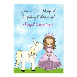 Brunette Princess and Unicorn Birthday Invitation