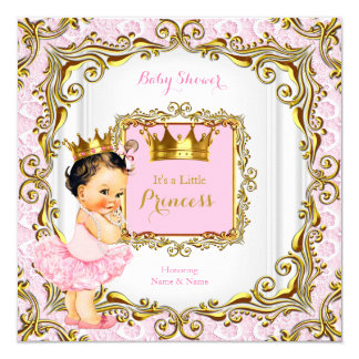 Brunette Princess Baby Shower Pink Lace White Gold Card