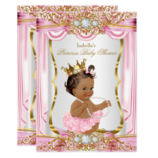 Brunette Princess Baby Shower Pink Silk dark Card