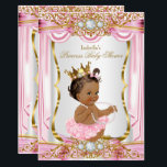 "Brunette Princess Baby Shower Pink Silk dark Invitation<br><div class=""desc"">Elegant Princess Girl Baby Shower Pink Gold and White Silver Satin Silk Invitation With a Pink Bow. Gold Diamond gem Tiara Crown. Dark Brunette Princess Girl Baby Shower. PLEASE NOTE all images are NOT Diamonds Jewels or real Bows!!</div>"
