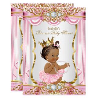 Brunette Princess Baby Shower Pink Silk Gold Card