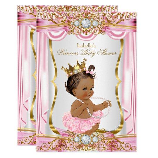 brunette princess baby shower pink silk gold card zazzle