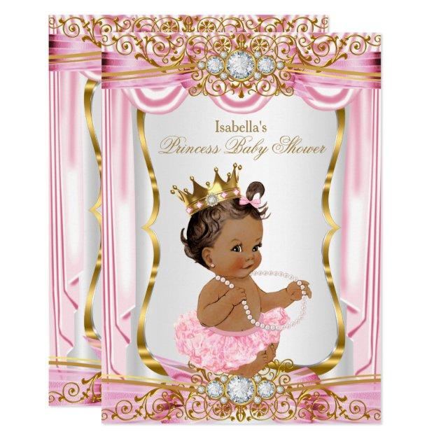 Brunette Princess Baby Shower Pink Silk Gold Card | Zazzle