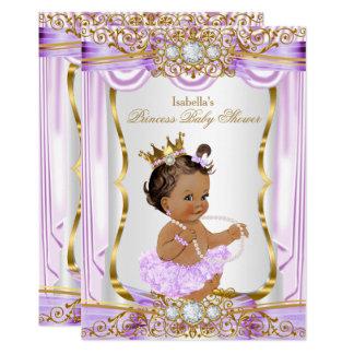 Brunette Princess Baby Shower Purple Silk Gold Card