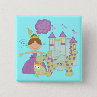 Brunette Princess Pinback Button