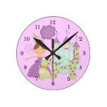 Brunette Princess Round Clock