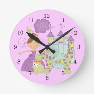 Brunette Princess Round Clock