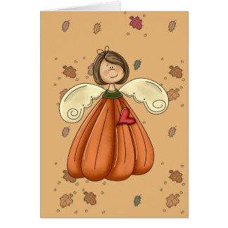 brunette pumpkin angel greeting card