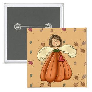 brunette pumpkin angel pinback button