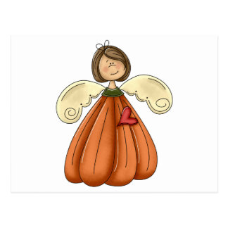 brunette pumpkin angel postcard