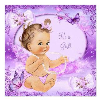 "Brunette púrpura de la mariposa de la fiesta de invitación 5.25"" x 5.25"""