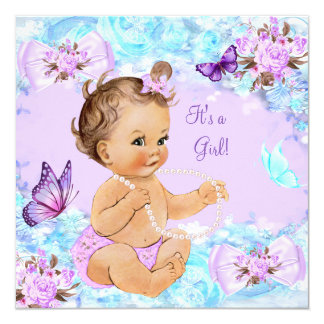 "Brunette púrpura de la mariposa del trullo de la invitación 5.25"" x 5.25"""