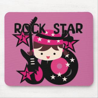 Brunette Rock Star Girl Mouse Pad