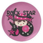 Brunette Rock Star Girl Party Plate