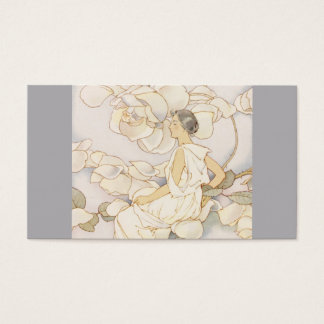 Brunette Rose Nymph in Garden Business Card