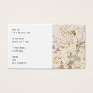 Brunette Rose Nymph in Garden Business Card