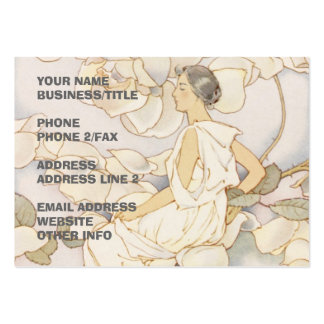Brunette Rose Nymph in Garden Large Business Card