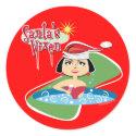 Brunette Santa's Vixen Stickers