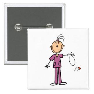 Brunette Stick Figure Nurse Button
