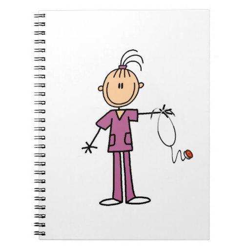 Brunette Stick Figure Nurse Note Book
