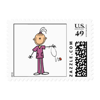 Brunette Stick Figure Nurse Postage Stamp