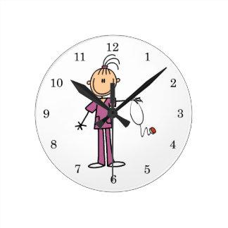 Brunette Stick Figure Nurse Round Clock