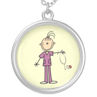 Brunette Stick Figure Nurse Round Pendant Necklace