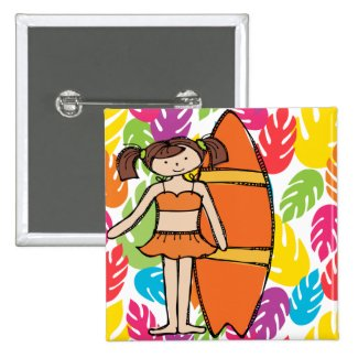 Brunette Surfer Girl Button
