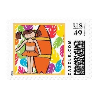 Brunette Surfer Girl Postage Stamps