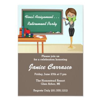 Brunette Teacher Retirement Party Invitation