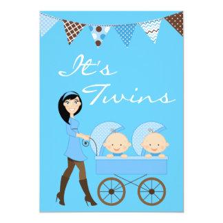 Brunette Twin Boys Baby Shower Invitation