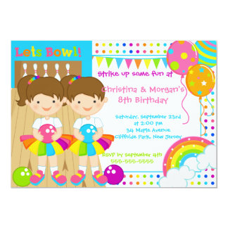 """Brunette Twins Girl Bowling Birthday Party 5"""" X 7"""" Invitation Card"""
