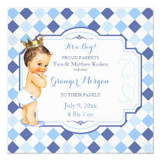 Brunette Vintage Baby Crown Little Prince Argyle Card