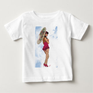Brunette with Parasol in Magenta Baby T-Shirt