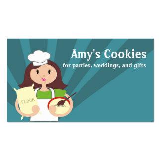 Brunette woman baking chef flour business cards