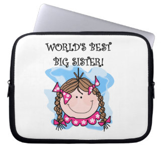 Brunette World's Best Big Sister Gifts Computer Sleeves