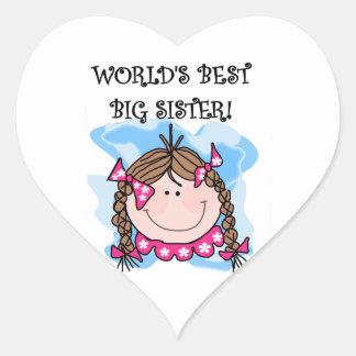 Brunette World's Best Big Sister Gifts Heart Sticker