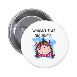 Brunette World's Best Big Sister Pinback Button