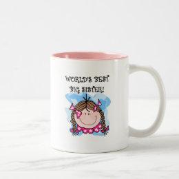 Brunette World's Best Big Sister Tshirts Two-Tone Coffee Mug