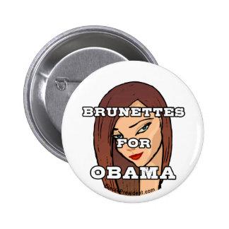 Brunettes for Obama Button