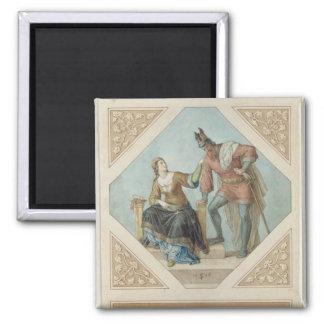 Brunhilde and Hagen, illustration for 'The Niebelu Magnet
