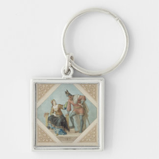 Brunhilde and Hagen, illustration for 'The Niebelu Silver-Colored Square Keychain