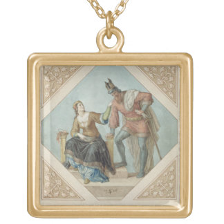 Brunhilde and Hagen, illustration for 'The Niebelu Square Pendant Necklace