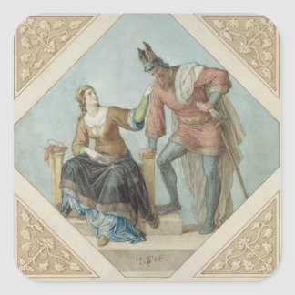 Brunhilde and Hagen, illustration for 'The Niebelu Square Sticker