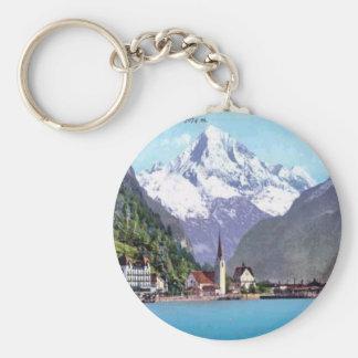 Brunnen, Lake Lucerne Basic Round Button Keychain