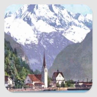 Brunnen Lake Lucerne Square Stickers